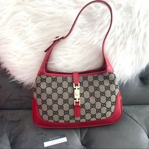 GUCCI Jackie-O Signature Canvas & Red Leather Bag